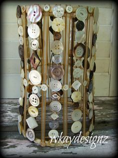 Altered Lamp Shade Mother of Pearl Shell Buttons Hand Crafted One of a Kind