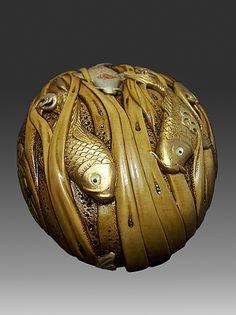 Koi Carps Netsuke- carved from boxwood - view 2 -size 10cm x 8 cm 2009 Koi02.jpg