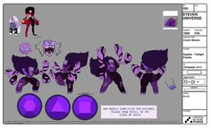 here some color blocks I did for the character Sugilite in the newest Steven Universe episode, Coach Steven! sometimes before we lockdown a character, we'll run through some different color options to...