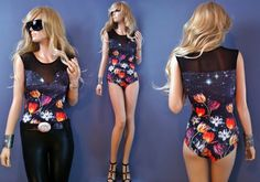 Cosmic Bloom Galaxy Floral Print Leotard Bodysuit available at www.rockerchic.net  Perfect for your next rave!!