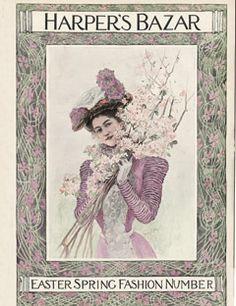 1899: The lilac-themed spring fashion issue.    #vintage #harpersbazaar #vintagecover  #fashion #magazine #illustration
