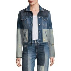 7 For All Mankind Patchwork Denim Jacket ($299) ❤ liked on Polyvore featuring outerwear, jackets, patchwork denim jacket, denim jacket, cropped jacket, blue jean jacket and patchwork jean jacket