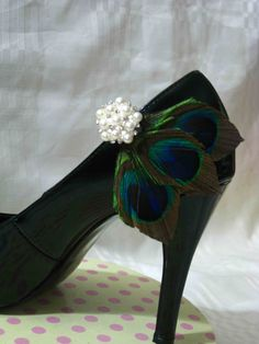 One Pair of Genuine Peacock Feathers with by PaperHeartsPetal, $28.00