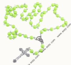 Green Girl's Cross Rosary Imitation Pearl Beads Alloy Necklace #eozy