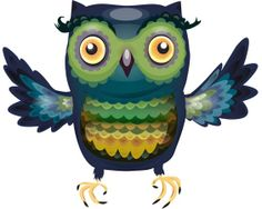 Richly patterned Owl in Blues and greens