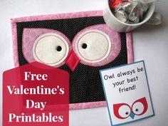 Free Valentine's Day Printables & Owl Mug Rug