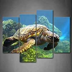Turtle Swimming In Bottom Of Sea Wall Art Painting The Picture Print On Canvas Animal Pictures For Home Decor Decoration Gift * Learn more by visiting the image link. (This is an affiliate link) Canvas Pictures, Print Pictures, Animal Pictures, Home Pictures, Pictures To Paint, Sea Turtle Pictures, Painted Picture Frames, Turtle Swimming, Turtle Painting