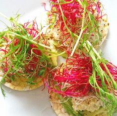 ~ Boveteriskakor, avocado, hummus, alfalfa, rödbetsgroddar, ärtskott ~