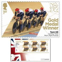 Large image of the Team GB Gold Medal Winner First Day Cover - Steven Burke, Ed Clancy, Peter Kennaugh, Geraint Thomas