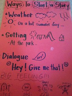 Ways to Start a Story for Kindergarten and First Grade Students