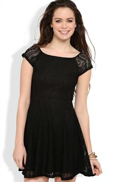 Deb Shops Crochet Lace Skater Dress with Cap Sleeves $24.67