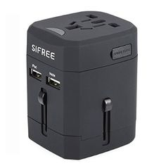 I NOW OWN THIS SiFREE Universal World Travel USB Charger Socket with Different Countries Plug Two Dual USB Port AC T6A Fuses Safety Wall Outlet (Black)