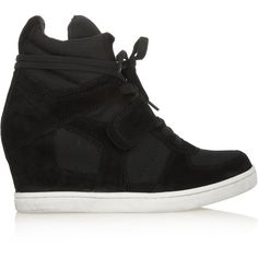 ASH Cool suede and mesh concealed-wedge sneakers ($160) ❤ liked on Polyvore