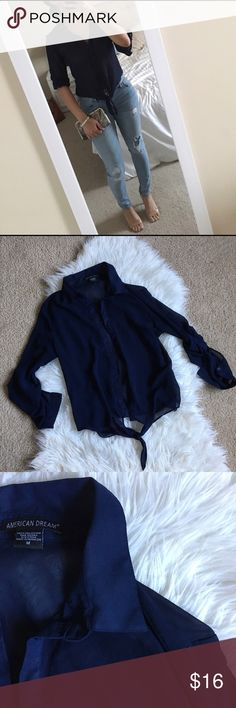 Navy Blue Chiffon Blouse Navy blue chiffon button down blouse. Worn only twice. Tops Blouses