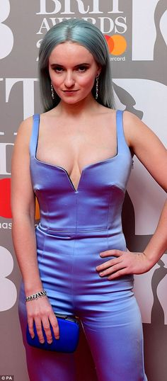 Sensational in silk: Clean Bandit's Grace Chatto made an impression in a quirky silk jumps...