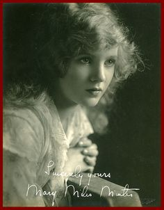 Actress Mary Miles Minter, whose career was wrecked by a puzzling Hollywood scandal.  Meanwhile, behind the scenes, she was having an affair with director William Desmond Taylor, a ladies man more than twice her age. When Taylor was found murdered, Minter was never really a suspect, but the involvement that came out in the investigation (her belongings were in Taylor's bungalow) was played up by the media and the scandal forever tainted her star image. The murder case was never solved.