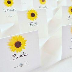 Sunflower wedding place cards www.ohsopurrfect.co.uk www.facebook.com/ohsopurrfect