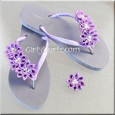 Purple Kanzashi Flip Flops Rhinestone Flip Flops Wedding Flip Flops Beach Flip Flops