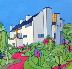 House For An Art Lover, Glasgow, painted for a client who was married at this beautiful venue. She wanted her marriage date and the pink flowers that were in bloom incorporated in the artwork.