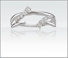 14k White Gold Black White Diamond Ring Wrap Enhancer Shape