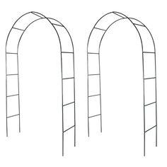 Metal Climbing Plants Arch 2 Piece Rose Archway Support Garden Outdoor Decor Set