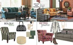Pattern Trends with La-Z-Boy – Vote For a Chance to Win! Canadian Contests, Dark Grey Walls, Living Room Redo, Coffee And End Tables, Pre Paid, Trends Magazine, La Z Boy, Family Room Decorating, Home Trends