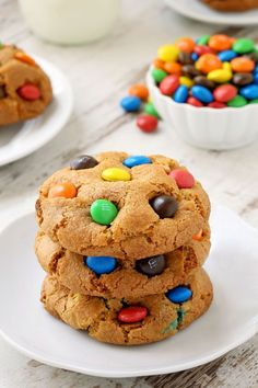 M&M cookies are soft, chewy and loaded with M&Ms! With a gluten-free option. via @bakingaddiction
