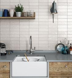 Mallorca Ceramic Tiles by Equipe .Expert – Distributor of Spanish Tiles White? Subway Tile Kitchen, White Tile Kitchen, Kitchen Backsplash Tile, Modern Kitchen Backsplash, Kitchen Tiles Design, Backsplash Ideas, Kitchen Countertops, Grey Wall Tiles, Kitchen