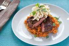 Chili-Rubbed Flat Iron Steaks with Quick Kimchi & Tomato Rice