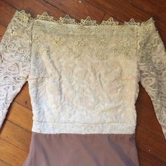 Vintage amazing creamy lace dress Vintage amazing creamy lace dress I can't believe how beautiful and flawless this dress is!  Fits size 4/6 me like a glove. 53 inches long flowing skirt with a shorter slip attached inside. No tags. Wow wow wow Vintage Dresses Maxi