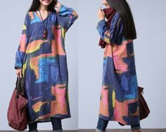 Casual Loose Fitting Long Sleeved Cotton Long Dress от deboy2000