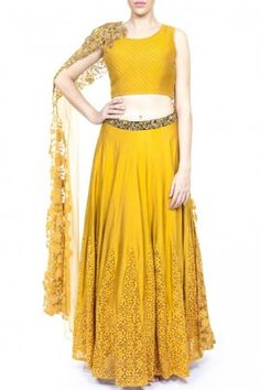 Mustard kali lehenga with quilted blouse