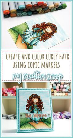 How to Color Curly Hair using Copic Markers - Hair is one of the hardest parts to color. Check out my How to Color Curly Hair using Copic Markers tutorial. Copic Marker Art, Copic Pens, Copic Art, Copic Sketch, Sketch Markers, Copics, Prismacolor, Copic Markers Tutorial, Tombow Markers
