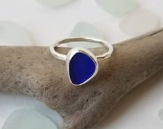 Cobalt Sea Glass Sterling Silver Ring, Size 6.25