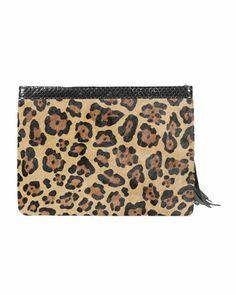 Leopard print calf hair clutch