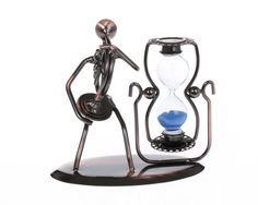 ZOVIE Creative Hand Soldering Wrought Iron Horn Musician Statues Bronze Tone Antique Sculpture Music Player Model Hourglass Blue Sand Glass Clock Timer Metal Stand for Gifts and House Decor -