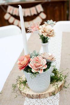 diy woodsy wedding paper flower wedding centerpiece / http://www.deerpearlflowers.com/unique-wedding-centerpiece-ideas/