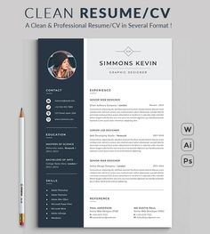 #Resume Word #Template / #CV Template with super clean and modern look. Clean Resume Template page designs are easy to use and customize, so you can quickly tailor-make your #job resume for any opportunity and help you to get your job. This Infographic Resume CV Template is made in Adobe Photoshop, Illustrator format and very popular word processor, MS Word aka Microsoft Word.