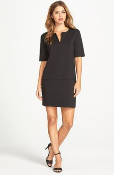 Free shipping and returns on Halogen® Split Neck Ponte Shift Dress (Regular & Petite) at Nordstrom.com. A mod little shift with slip pockets at the dropped waist is cut from a supple ponte knit with a split neckline and short sleeves.