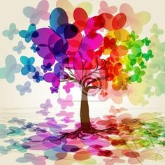 Sticker abstract colorful tree. vector. - space • PIXERSIZE.com