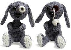 pop eyed bunny by andricongirl Crochet Lion, Crochet Monsters, Crochet Bunny, Crochet Animals, Crochet Dolls, Knit Crochet, Halloween Crochet Patterns, Crochet Amigurumi Free Patterns, Unique Crochet