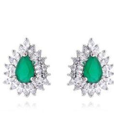 brinco chique esmeralda com zirconias cristais navete semi joias de luxo