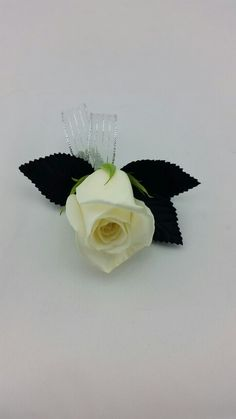White Rose Boutonniere with Silver and Black Accent