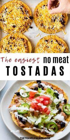 Easy Vegetarian Dinner, Tasty Vegetarian Recipes, Veggie Dinner, Veggie Recipes, Mexican Food Recipes, Healthy Recipes, Meatless Dinner Ideas, Tostada Recipes, Meatless Monday