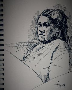 """"""" quick ink sketch this evening of my step-daughter"""" Pen Sketch, Sketches, Ink Art, Art Ideas, Portrait, Drawings, Painting, Kunst, Headshot Photography"""