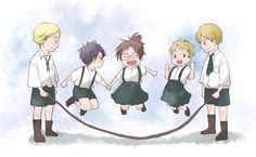 Eeeee! Chibi Scouting Legion veterans jump-roping! The best part is Levi and Hanji doing it while holding hands <3 | SNK