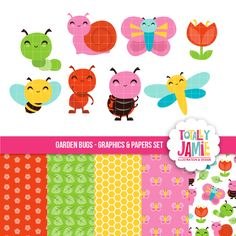 Garden Bugs set includes 5 garden themed digital papers and 8 graphic garden characters.  So cute for scrapbooking, educational use, crafts and more.