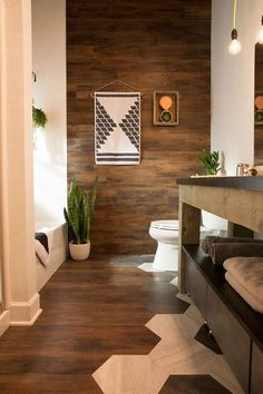 Bathroom makeover- peel and stick vinyl flooring cut into hexagon shapes Flooring On Walls, Plank Walls, Diy Flooring, Bathroom Flooring, Flooring Ideas, Floors, Flooring Options, Paneled Walls, Wooden Flooring