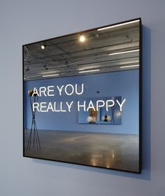 'Are you really happy' Neon, 2012 by artist Jeppe Hein