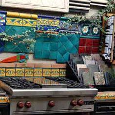 Kitchen with scenic tile backsplash